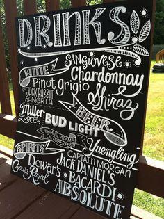 Handwritten 15x20 Chalkboard Wedding DRINKS Sign by maryandjack, $50.00