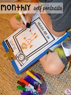 Monthly Self Portraits and Name Samples for Preschool Pre-K & Kindergarten Preschool Memory Book, Preschool Binder, Creative Curriculum Preschool, Preschool Journals, Preschool Assessment, Preschool Art, Kindergarten Classroom, Preschool Activities, Classroom Ideas
