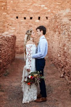 Macrame Wedding - Bouquet Wrap #bohemian #modernmacrame Quarai Ruins, New Mexico