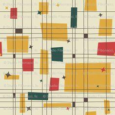 Mid-Century Modern - Grid & Stars - studiofibonacci - Spoonflower