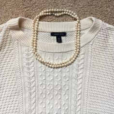 XL/18 Lands End 3/4 sleeve white cable sweater Worn twice . Great condition, no stains, rips or tears.  Perfect for spring! Lands' End Sweaters Crew & Scoop Necks