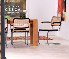Cadeira Cesca, criada pelo arquiteto húngaro Marcel Breuer em 1928. Um clássico do design mobiliário, está em nosso Bazar com um MEGA desconto + Frete Gratuito.