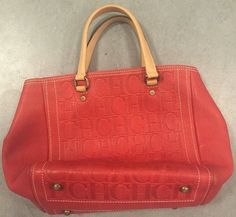 Carolina Herrera Leather Monogram Satchel in Red