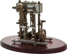 Live Steam Model Twin Cylinder Stevenson's Link Reversing Engine. 7 x 3-1/2 x 5 inches (17.8 x 8.9 x 12.7 cm).