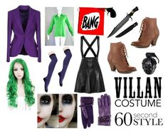 """""""Female Joker   Villain Costume Contest"""" by heartless-knight ❤ liked on Polyvore featuring ESCADA, Mojo Moxy, Sandro, MollaSpace, Space Style Concept, Halloween, 60secondstyle and villaincostume"""