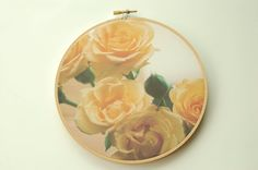 Spring Garden by kikisan on Etsy Yellow Rose Bouquet, Yellow Roses, Embroidery Supplies, Embroidery Thread, Spring Garden, Hoop, Unique Jewelry, Handmade Gifts, The Originals