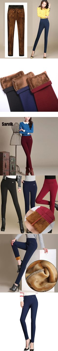 c693def33ea55 2017 Women High Waist Pencil Pants Fleece No Fleece Warm Trousers Female  Velvet Warm Pants Plus Size white red black pantalon
