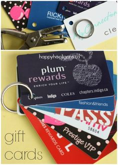 gift cards clipped to key ring