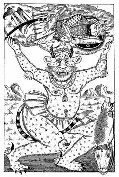 Figure Akvan carries away Rostam in sleep. The transvestite demon (div) was a staple of popular illustrations of the period. Shahnameh illustrated by Ostad Sattar (Tabriz, Courtesy of Ulrich Marzolph. Islamic Art Pattern, Pattern Art, Persian Tattoo, Ancient Persia, Shiva Art, Demon Art, Iranian Art, Historical Art, Arabian Nights