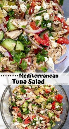 This Mediterranean Tuna Salad No Mayo is a fresh new twist on traditional tuna salad. With albacore tuna, tomatoes, cucumber, onion, artichokes and olives this tuna salad is anything but boring! Great for lunch, dinner and meal prep. #tunasalad #lunchideas #mealprepping healthy tuna recipes - tuna healthy - tuna whole30 - tuna wrap - budget meal prepping - meal prep recipes healthy - quick prep meals - meal prep easy ideas - meal prep recipes