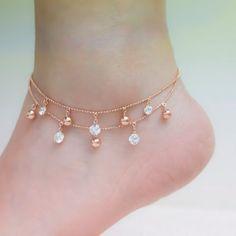 Anklet Jewelry Rose gold ankle bracelets rose gold anklet ankle bracelet by SFSea Rose Gold Anklet, Rose Gold Jewelry, Fine Jewelry, Women's Jewelry, Jewelry Ideas, Jewelry Bracelets, Jewelry Making, Quartz Jewelry, Star Jewelry