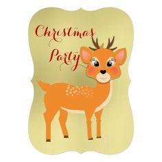 Cute Baby Reindeer Christmas Party Custom Invitation