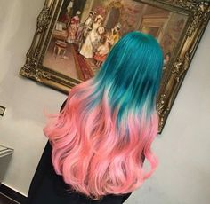 Blue to pink Beauty: Fantasy Unicorn Purple Violet Red Cherry Pink yellow Bright Hair Colour Color Coloured Colored Fire Style curls haircut lilac lavender short long mermaid blue green teal orange hippy boho ombré woman lady pretty selfie style fade makeup grey white silver trend trending Pulp Riot