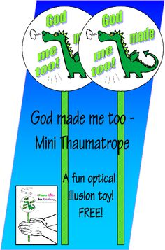 FREE Dinosaur Mini Thaumatrope Optical Illusion Toy for Kids Optical Illusions For Kids, Child Sponsorship, God Made Me, Dinosaur Crafts, Free Bible, Bible For Kids, Kids Church, Free Paper, Paper Gifts