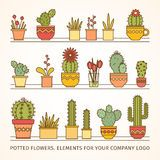Linear Design, Potted Cactus. Elements Of A Corporate Logo. Vector - Download From Over 52 Million High Quality Stock Photos, Images, Vectors. Sign up for FREE today. Image: 49179599