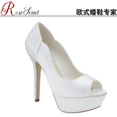 Rose Bridal white high-heeled shoes diamond wedding shoes waterproof shoes fish head comfortable temperament female marriage set - Taobao