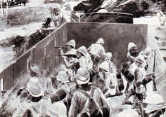 Royal Dublin Fusiliers in action on the Armoured Train at Chievely on November 1899 during the Boer War Railroad Pictures, The Siege, Train Art, King And Country, Panzer, British Army, African History, Military History, World War Two