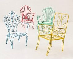 Painted Patio Chairs Spray paint old metal chairs bright colors for a new look. Wish I'd thought of these colours before I painted mine white Iron Furniture, Retro Furniture, Painted Furniture, Furniture Design, Outdoor Furniture, Painted Chairs, Country Furniture, Metal Patio Chairs, Lawn Chairs