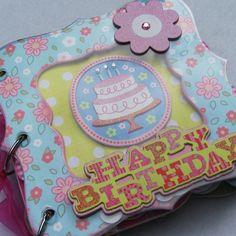 Girly Happy Birthday Premade Mini Scrapbook Album