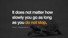 It does not matter how slowly you go as long as you do not stop. - Google Search