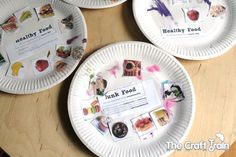 free printable for paper plate sorting craft with lesson points on why we dont eat junk food