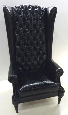 Tall Black Leather Tufted Wingback Chair Awesome Design Photo