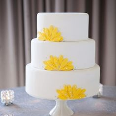 A modern yellow and slate inspiration shoot- this cake is amazing!