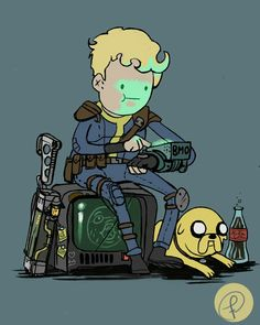 Fallout/Adventure time Flat style again A Vault boy and his dog Fallout Posters, Fallout Funny, Fallout Fan Art, Fallout Concept Art, Fallout 4 Vault Boy, Fallout Props, Fallout Wallpaper, Art Adventure Time, Adveture Time