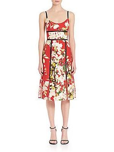 ABS Sundress with Paneled Skirt - Red - Size