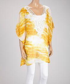 Look at this #zulilyfind! Yellow & White Crochet Tie-Dye Tunic #zulilyfinds