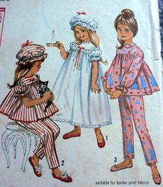 #Vintage 1960s #Girls #Nightgown #Pajamas #Pyjamas Nightcap #Sewing #Pattern Simplicity 5080