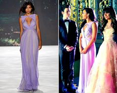 Badgley Mischka Spring 2013 RTW Sleeveless Triangle Neck Gown - worn by Santana on Glee