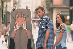 No offense to miku, she's actually great. Hatsune Miku, Kaito, Tokyo Godfathers, Anime English, Kagamine Rin And Len, My Singing, Looks Cool, Funny Images, Anime Meme