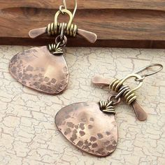 Mixed Metal Wire Wrapped Earrings Handmade by IntuitiveGlass