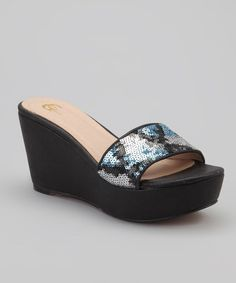Take a look at this Black & Silver Fabulous Wedge by GC Shoes on #zulily today!