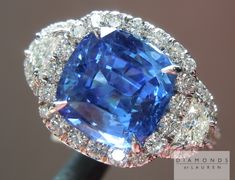 Can someone buy this for me, please? I'm worthy!  3.61ct Blue Cushion Cut Sapphire Three Stone Diamond Halo Ring $6,495