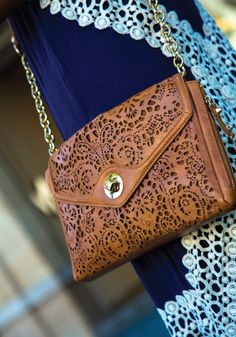 Love this Vintage Inspired Laser-cut Brown Handbag