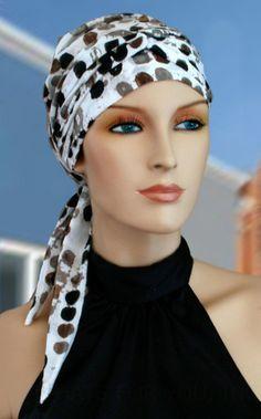 $26.00 - Dots Long Tail Head Wrap - #cancer #chemo #hair loss