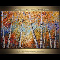 ORIGINAL Birch Tree Park Painting Modern Gallery Quality Palette Knife Oil on canvas from Paula Nizamas. $380.00, via Etsy.