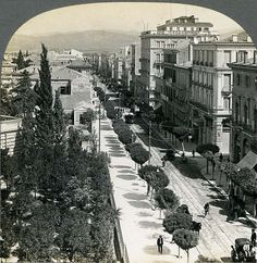 Stadiou Street in the early 1900's .. pederstrian street with tram