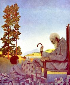 Art by Maxfield Parrish (1914) from the book, POEMS OF CHILDHOOD.