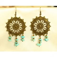 Boho Chic Antique Bronze Filigree with Turquoise Earrings