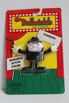 ROCKY And BULLWINKLE FIGURE, 1991 Vintage Boris, Vintage soft vinyl Bendable pvc, vintage Rocky and Bullwinkle toy,retro pvc toy,vintage toy