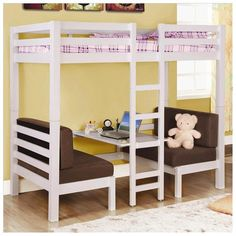 Twin over Twin Convertible Loft Bunk Bed in White Finish by Coaster [spray paint it black]
