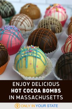 Find delicious hot cocoa bombs at this Massachusetts bakery! They're some of the best around and you'll also find other delectable deserts at this local foodie favorite. Small Bakery, Winter Treats, Hot Cocoa Mixes, Marshmallow Pops, Food Trends, Cakes And More, Melting Chocolate, Yummy Drinks, Road Trips
