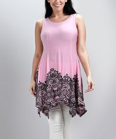 Another great find on #zulily! Pink Lace Print Sleeveless Sidetail Tunic - Plus #zulilyfinds