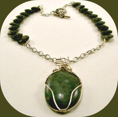 Moss Agate Wire Wrapped Pendant and Necklace $36.99