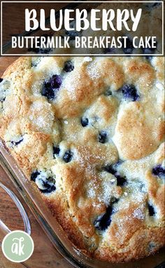 Buttermilk Blueberry Breakfast Cake Buttermilk Blueberry Breakfast Cake — this simple cake is a family favorite. I look forward to making it every spring/summer when the blueberries begin arriving at the market, but it works well with frozen berries, too. Dessert Dips, Dessert Recipes, Easy Brunch Recipes, Brunch Foods, Lunch Recipes, Simple Food Recipes, Crock Pot Desserts, Dinner Dessert, Homemade Desserts