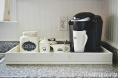 DIY coffee tray | I like having a coffee station using a tray. Makes everything look a little neater.