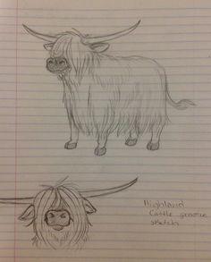 Highland Cow sketch by on DeviantArt - Happy Tiere Highland Cow Painting, Highland Cow Art, Highland Cow Tattoo, Animal Paintings, Animal Drawings, Cute Drawings, Cow Drawing, Painting & Drawing, Cow Sketch